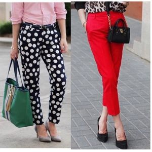 2 Pairs J crew skimmer red navy blue dots pants